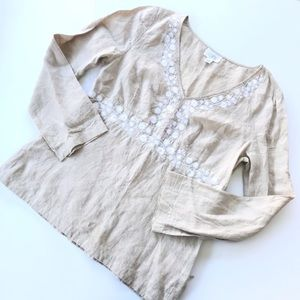 Ann Taylor LOFT Tan Boho Embroidered Linen Top 14